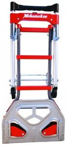 Milwaukee Convertible Hand Truck Vertical Horizontal Positions Compact Storage