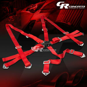 6 point 2 Wide Red Strap Harness Safety Camlock Style Racing Seat Belt bolts