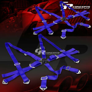 2x 6 Point 3 Wide Blue Strap Harness Safety Camlock Style Racing Seat Belt Bolt