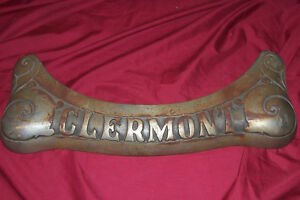 Old Clermont Stove Name Plate Wood Burning Vintage Antique Trim Tag Parts Oven