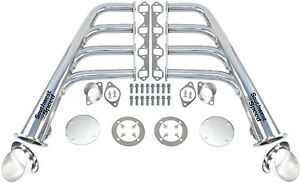 New Lake Style Stainless Steel Headers W Ceramic Turnouts Sbf 260 351w V 8 Gt40p