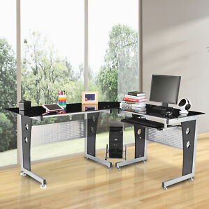 64 L shaped Computer Desk Laptop Pc Glass Top Table W Cpu Stand Keyboard Tray