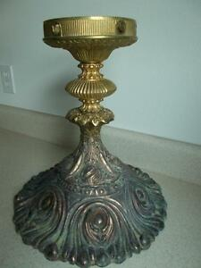Ombre Ornate Large Cast Metal Pedestal Plant Candle Stand Verdigris Copper Brass