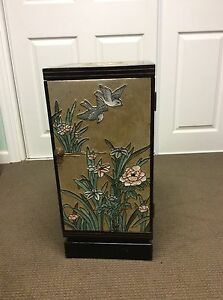Chinese Furniture Hand Engraved Painted Wooden Lacquered Gold Foil Cabinet