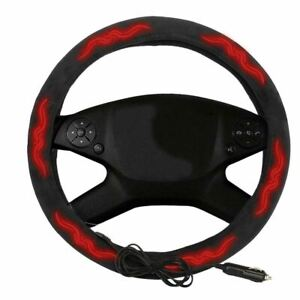 Zone Tech 12v Black 14 5 Heated Steering Wheel Cover Warm Winter Universal Cars