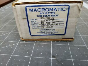 Macromatic Ss 60226 Programmable Time Delay Relay 12vac dc Tr 60226 Time Ranger