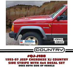 Sp Qj j188 1993 97 Jeep Cherokee Xj 4 Door Country Sport Stripe Decal Licensed