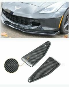 Side Deflector End Caps Carbon Fiber For 14 up Corvette C7 Z06 Stage 2 Front Lip