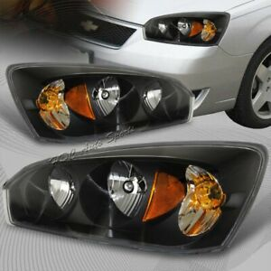 For 2004 2007 Chevy Malibu Black Housing W amber Reflector Headlights Lamps