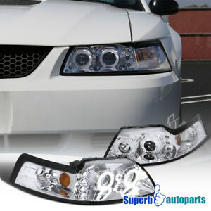 1999 2004 Ford Mustang Dual Halo Projector Headlights Chrome Head Lamps Pair
