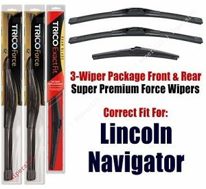Wiper Blades Trico 3 pack Front rear Fits 2009 Lincoln Navigator 25220x2 16j