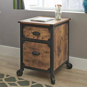 Portable File Cabinet Office Home Storage Drawers Rolling Wheels Small Rustic