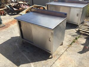 Stainless Top Work And Storage Cabinet By Tabco 48 Wide X 30 Deep Used