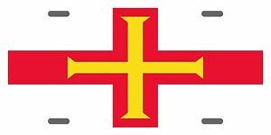 Guernsey Uk Flag Custom License Plate National Emblem Original Version