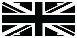 United Kingdom Flag Custom License Plate Black White Version Uk Tactical