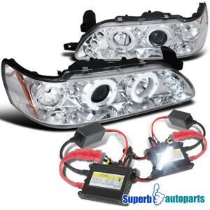 Fit 1993 1997 Toyota Corolla Led Halo Clear Projector Headlights h1 Slim Hid Kit