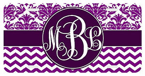 Personalized Monogrammed License Plate Auto Car Tag Damask Chevron Violet