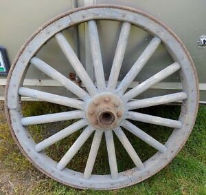 Pair Clean Large Heavy Duty 45 Antique Wooden Wagon Wheels Ex Condition