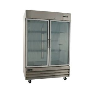Two Door Glass Front Stainless Steel Commercial Refrigerator Cfd 2rrg