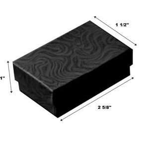 200 Black Swirl Cotton Fill Jewelry Packaging Gift Boxes 2 5 8 X 1 1 2 X 1