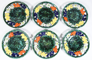 Set Of 6 Vintage Austrian 8 Folk Plates Hand Painted Eidelweiss Reticulated
