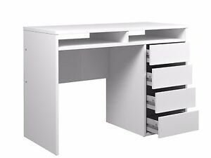 Brand New Blenman 4 Drawer And 2 Shelf Desk In White