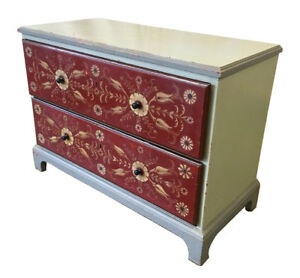 Swedish Antique Painted Two Drawer Dresser