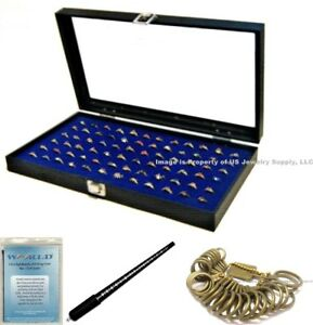 Glass Top Lid 72 Ring Blue Jewelry Sales Display Box Storage Case Bonus Items