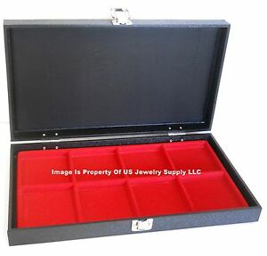 Grained Leatherette Wood Solid Top Lid Red 8 Space Collectors Display Case Box