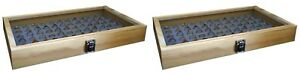 2 Natural Wood Glass Top Lid Grey 72 Ring Jewelry Display Storage Box Cases