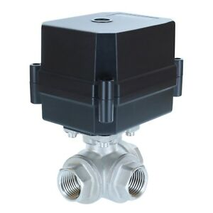 1 2 Npt 3 way 12v Dc Motorized Ball Valve Stainless Steel Ptfe 3 wire