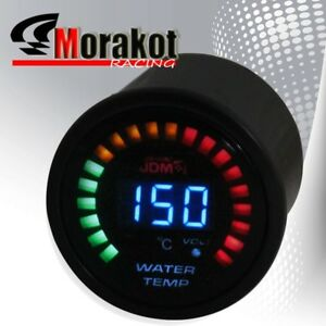 New Auto Jdm Sport 2 Inch 52mm Blue Led Digital Water Temperature Meter Gauge