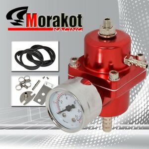 Universal 1 1 Ratio 1 140 Psi Adjustable Fuel Pressure Regulator Kit Gauge Red
