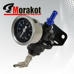 Turbo Adjustable 1 140 Psi Fuel Pressure Regulator Kit With Liquid Gauge Black
