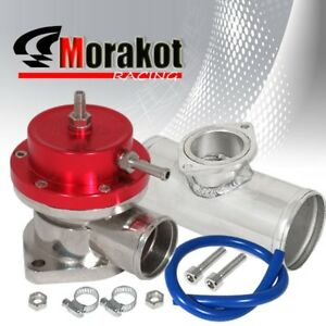 Adjustable Type R Turbo Bov Blow Off Valve Red 2 5 Flange Aluminum Adapter Pipe