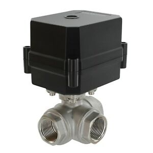 3 4 Npt 3 way 12v Dc Motorized Ball Valve Stainless Steel Ptfe 3 wire
