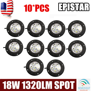 10x 18w 3 5inch Led Work Light Round Spot Fog Offroad Driving Lamp Suv Boat 4wd