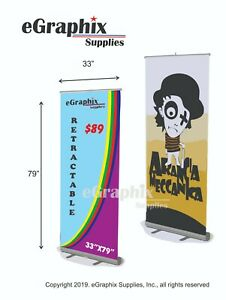 Color Banner In An Economy Retractable Roll Up Stand 33 X 79