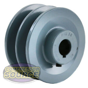 3 5 Cast Iron 3 4 Shaft Pulley Sheave Single 2 Groove V Style B Belt 5l New