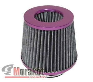 Purple Universal 4 Inch High Flow Cold Air Short Ram Intake Dry Cone Filter