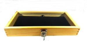 Key Lock Natural Wood Glass Top Black Pad Display Case Militaria Jewelry Knife
