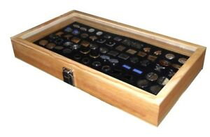 Natural Wood Glass Top Lid Black Cufflinks Jewelry Display Storage Box Case