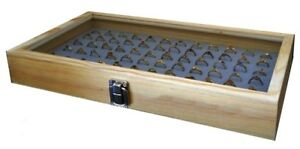 Natural Wood Glass Top Lid Grey 72 Ring Jewelry Display Storage Box Case