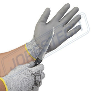 12 Pairs Jorestech Cut Resistant Level 5 Work Gloves Grey Pu Palm Coated