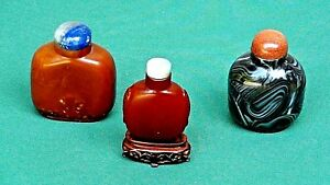 Antique 18c Chinese 3 Pieces Peking Glass Snuff Bottles Imitating Stone
