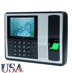4 A7 Lcd Usb Biometric Time Fingerprint Attendance Clock Employee Recorder L8s6