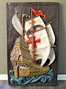 Vtg Mid Century Nautical Art Ship Wall Hanging Relief Plaster Sculpture Rare