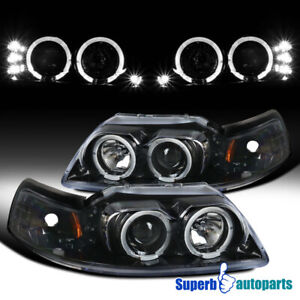 For 1999 2004 Ford Mustang Led Dual Halo Polished Black Projector Headlights