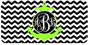 Personalized Monogrammed License Plate Auto Car Tag Chevron Anchor Lime Green