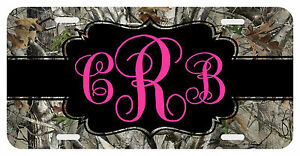 Personalized Monogrammed License Plate Auto Car Tag Camo Pink Camouflage